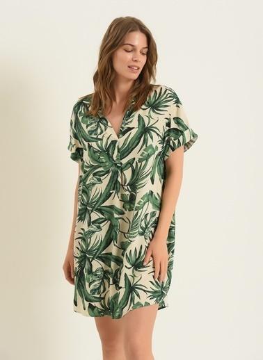 Morhipo Beach Kadın Yaprak Desenli Elbise MBKSS21EL0004 Yeşil